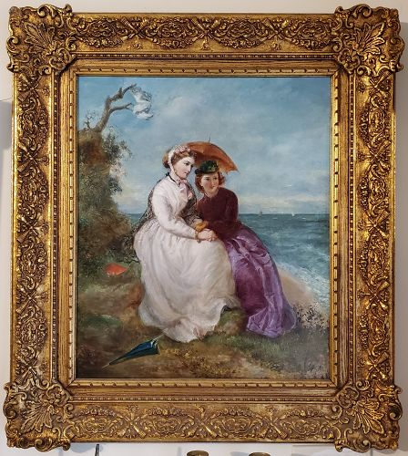 Victorian Portrait Of Women In A Landscape By The Ocean.