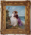 Victorian Portrait Of Women In A Landscape By The Ocean.