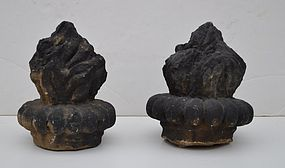Pair of Carved Limestone Flame Finials, 17/18thC