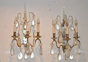 Louis XV Style Silvered and Cut Glass Sconces, 19th C