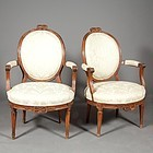 Pair of Louis XVI Walnut Fauteuils, circa 1785