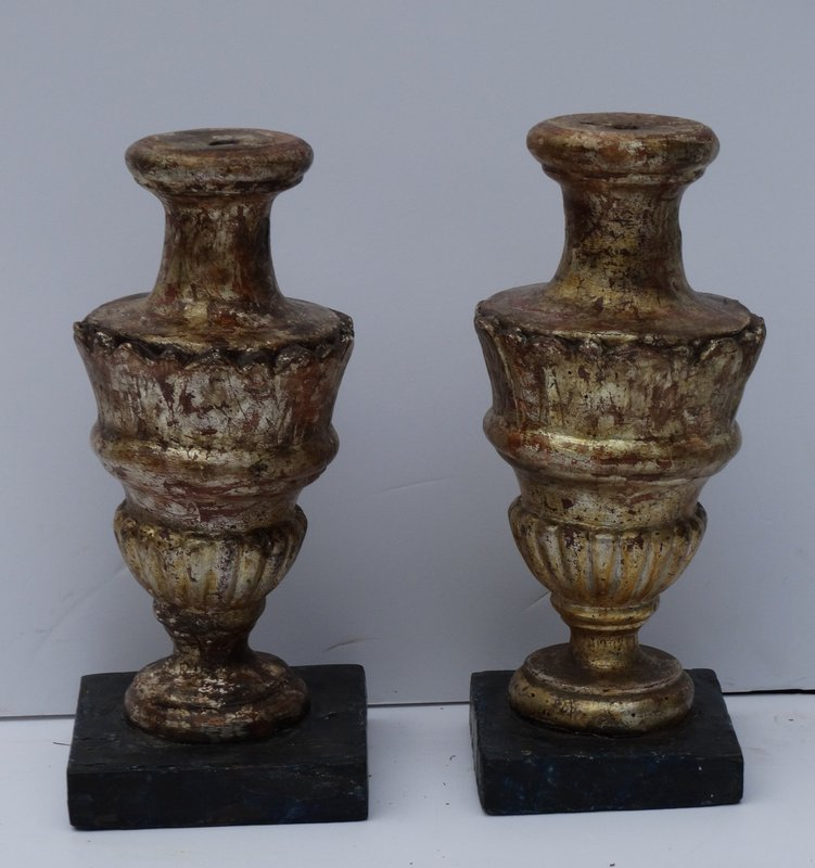Pair of Italian Gambose and Painted Finials 19th Century