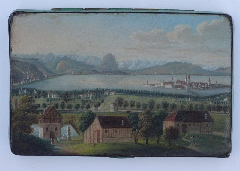 Metal Box with Painted Lid, Continental, circa 1860.