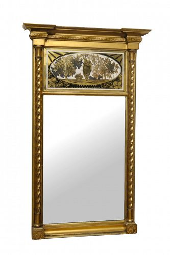 Antique George III Giltwood Mirror with Verre Eglomise Panel
