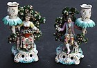Chelsea style Porcelain Figurine Candle Holders, 19th C
