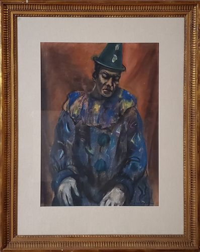 Pastel Painting of A Clown by Samuel Brecher
