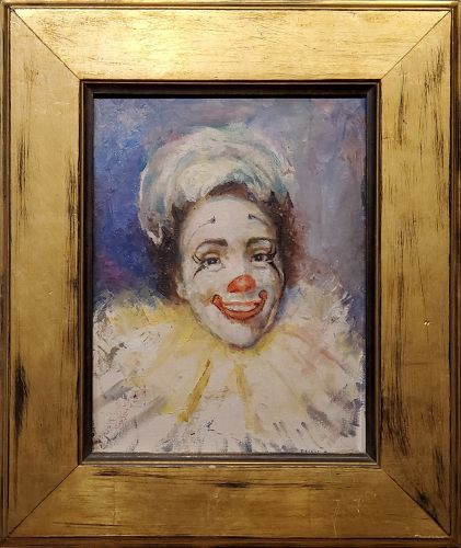 Bright Painting of a Clown signed by Bessie J. Howard
