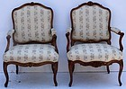 An Assembled Pair of French Louis XV Armchairs, circa 1750