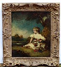 English School Painting in Lely Frame, 18th C