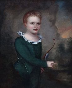 American Portrait of Child with Bow, 19th century