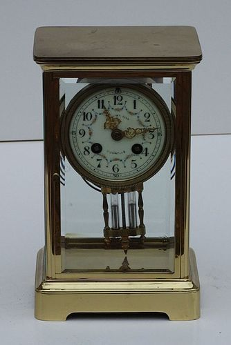 French Brass and Crystal Mantel Clock, circa 1915