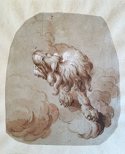 Dutch School Drawing of a Lion, Late 17th century