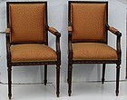 Pair of Louis XVI-Style Mahognay Armchairs