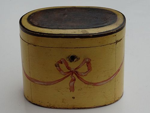 Continental Painted Oval Tea Caddy, late 18th C.