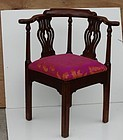 George III-Style Mahogany Corner Chair.