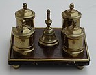 Continental Walnut and Brass Inkstand, late 18th C