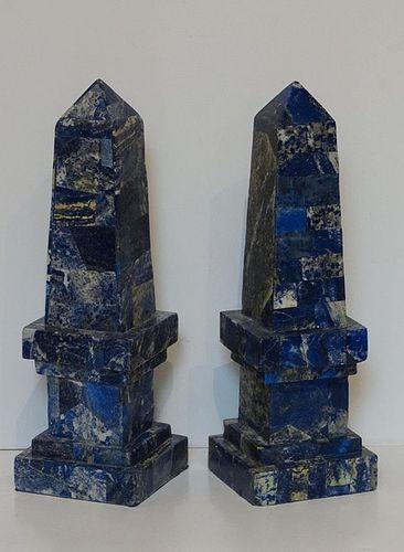 Pair of Stone Obelisks with Lapis Lazuli Veneer, 20th C.