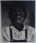 American Charcoal Drawing of Boy