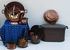 Copper Group of Kitchenware, 19th century