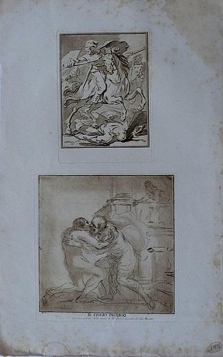 18th Century Etchings by Vincenzio Vangelisti after Guercino, 1591-179