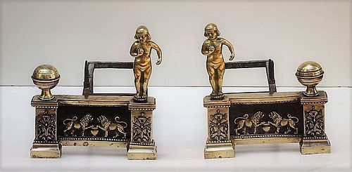 Pair of Louis XVI Bronze Chenets, 3rd q 18th C.
