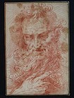 Italian Sepia Drawing of the Prophet, late 17rh C.