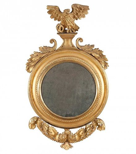 Federal or English Giltwood Convex Mirror of High quality, circa 1820