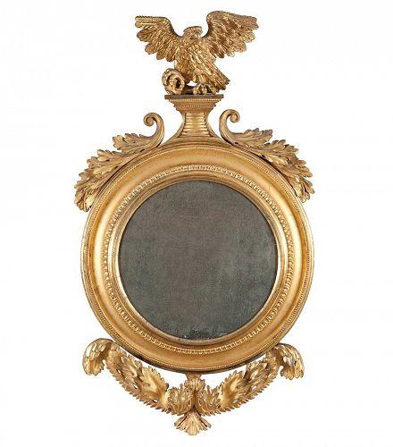 Federal or English Giltwood Convex Mirror of High quality, circa 1820