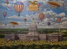 Fanciful Aeronautical View of the US Capitol, Mongrammed & dated 1960
