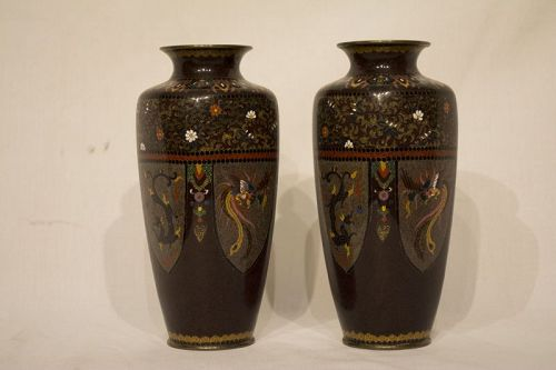 Pair of Japanese Cloisonne Cabinet Vases, Meiji, late 19th C