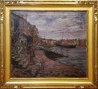 """F. Hutton Shill, American 1872-1946, """"Along the Wharf"""""""