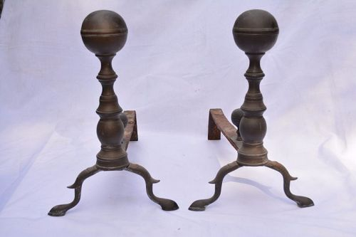 Pair of Federal Brass Ball-Topped Andirons, Ca. 1815