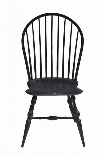 Black Windsor Loop-Back Side Chair, Modern