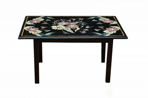 Custom Marble-Inlaid Slate-Top Low Table, Modern