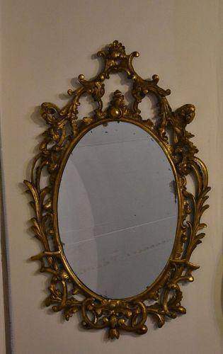 George III Giltwood Oval Mirror, circa 1775-85