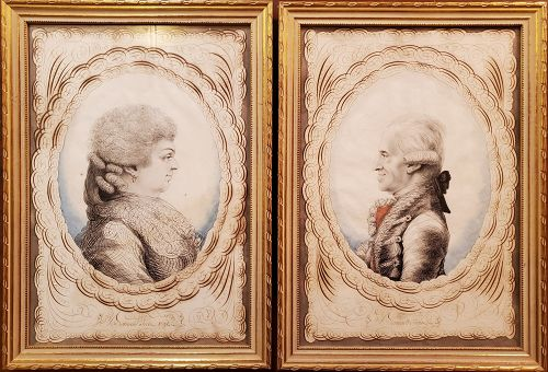 Pair of calligraphic watercolor portraits of a French couple c 1791