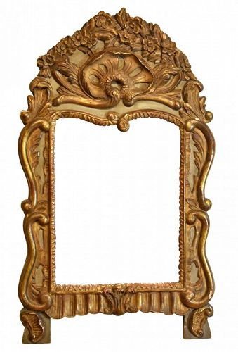 Louis XV Parcel Gilt and Painted Mirror, 18th C.