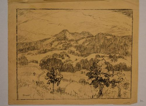 American Charcoal Drawing New Mexico Landscape by Albert Lorey Groll