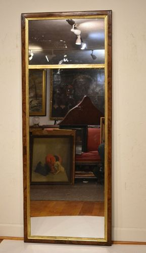 English 18th Century Burl Walnut Looking Glass Mirror