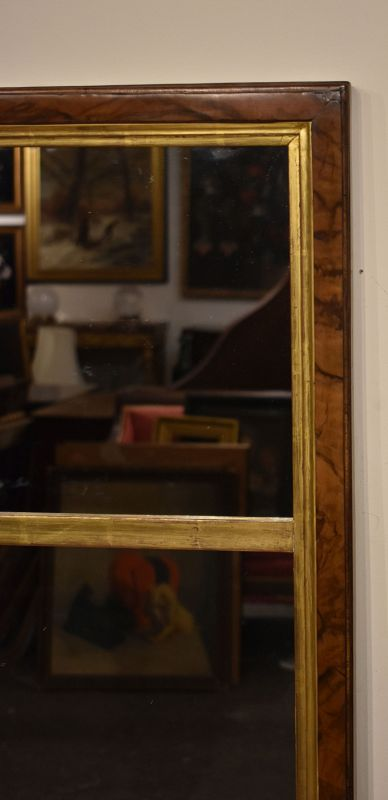 English 18th Century Burl Walnut Looking Glass Mirror