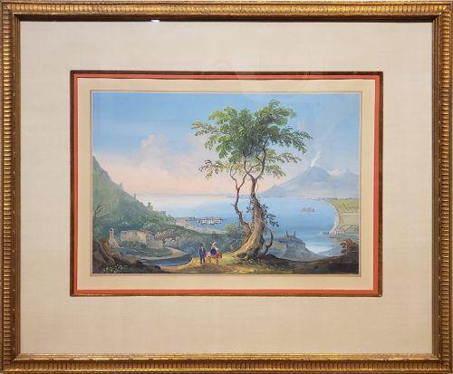Italian Gouache Depicting Mt. Vesuvius, Naples, late 19th C.