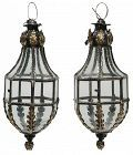Pair of Patinated Brass Hanging Lanterns