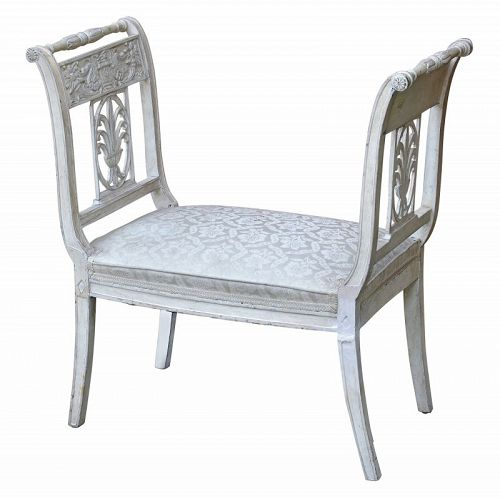 Directoire Style White Painted Window Seat, 20th C