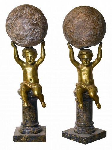 Pair of Bronze and Marble Mantle Ornaments with Putto, late 19th C.