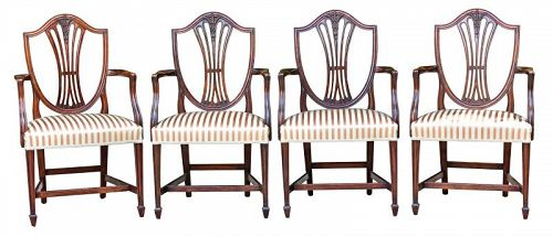 Set of Four George III Style Mahogany Armchairs, late 19th C.