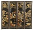 Chinese Export Lacquer Four Panel Screen, early 19th C