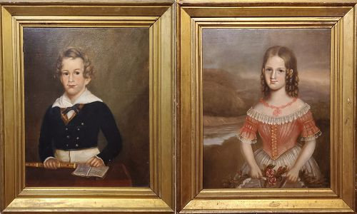 Pair of Southern Portraits of Children, NC, Ca. 1835-40