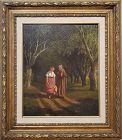 Women Walking A Landscape signed by William de la Montagne Cary