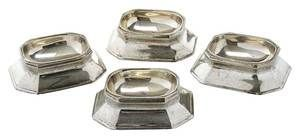 Set of Four Tiffany Sterling Salt Cellars, American ca. 1930