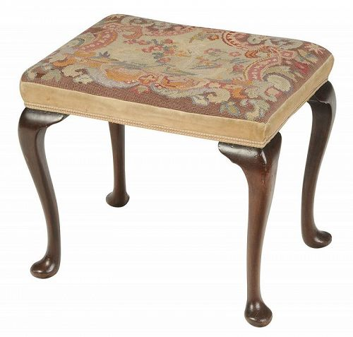 Queen Anne Style Upholstered Stool, 19th C.